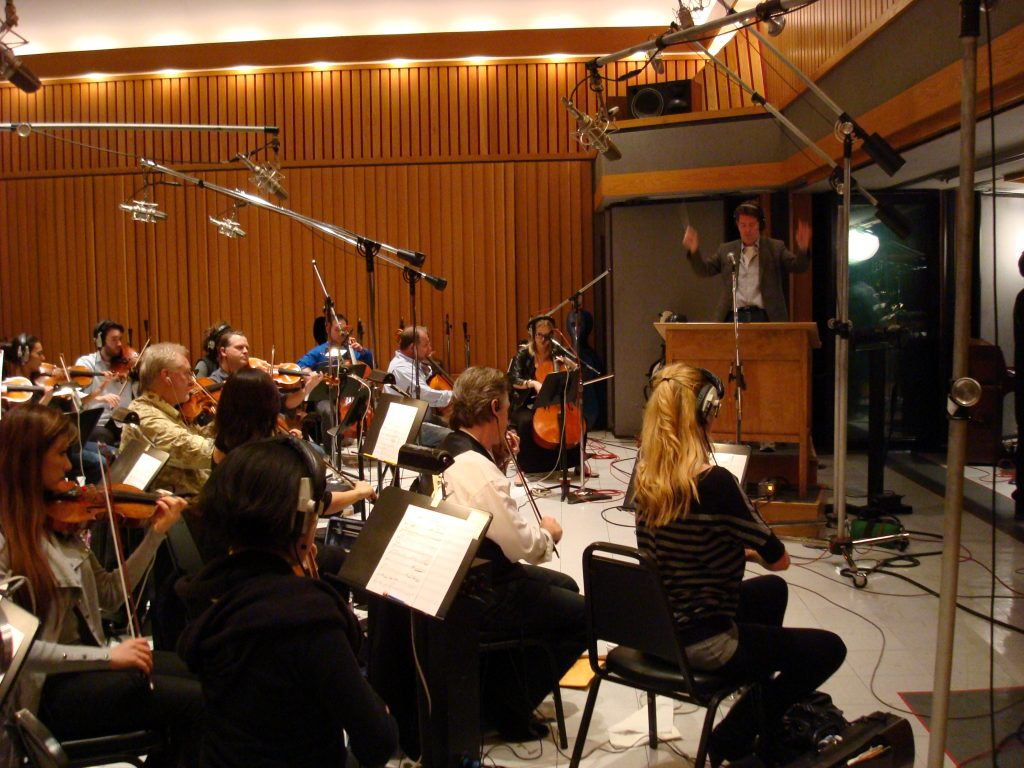 Bob Buckley conducting Michael Bublé recording session